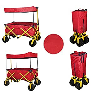 RED JUMBO WHEEL FOLDING WAGON ALL PURPOSE GARDEN UTILITY BEACH SHOPPING TRAVEL CART OUTDOOR SPORT COLLAPSIBLE WITH CANOPY COVER - EASY SETUP NO TOOL NECESSARY - COMPACT FOLDED SIZE SPACE SAVING