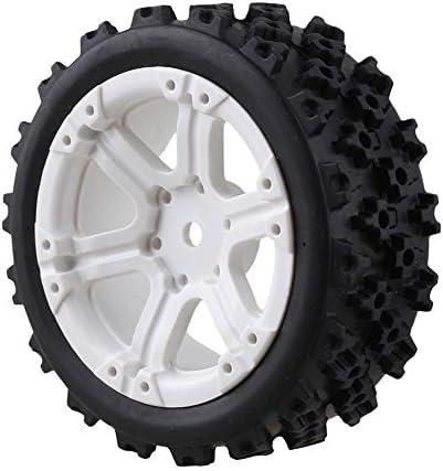 MxfansブラックフラワーパターンRubber Tyres +ホワイト6-spokeプラスチックホイールリムfor RC 1: 10オンロードレーシング車のセット4