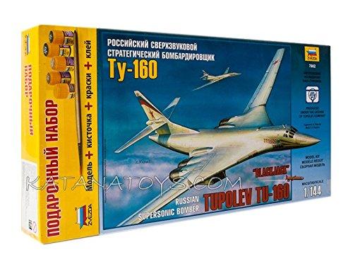 (ZVEZDA 7002 P Russian Supersonic Strategic Bomber TU-160 Blackjack Belyy Lebed Gift Set (Paints Included) Scale 1/144 153 Details Lenght 15