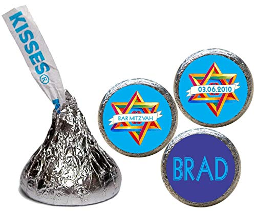 Bar or Bat Mitzvah Stickers for the bottom of chocolate Kisses (set of 108)(RSofD) ()
