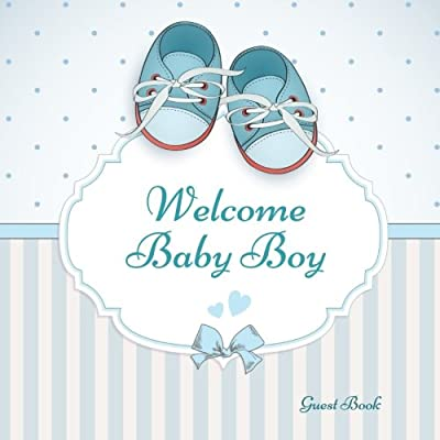 welcome baby boy guest book guest message book keepsake with 100