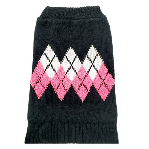 azuza Dog Sweater Dog Knit Pullover Fall Winter Warm Back Length 10 for Puppy Small Dogs Pink Color Classic Stripe