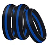Globby Silicone Wedding Band Ring,3 Pack for Men and Women,Rubber Ring Band is Flexible and Comfortable (women,size 7)