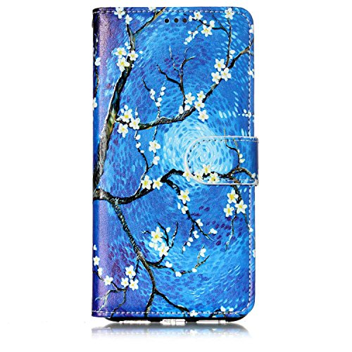 durable modeling JuSha for Huawei P8 Case PU Leather Wallet Magnetic Cover Skin ( Blue Oil Painting )