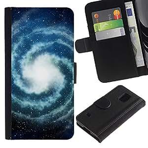 Be Good Phone Accessory // Caso del tirón Billetera de Cuero Titular de la tarjeta Carcasa Funda de Protección para Samsung Galaxy S5 V SM-G900 // Milky Way Universe Space Stars