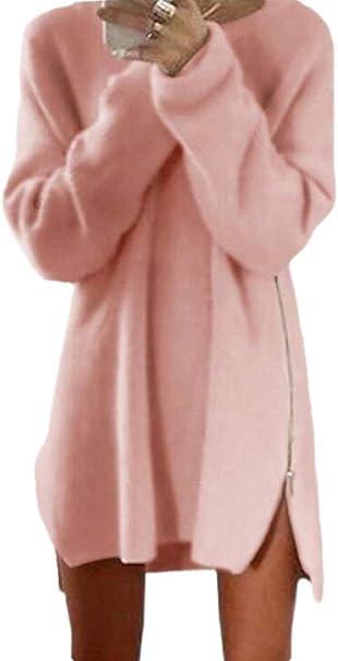 dahuo Vestido Tipo túnica de Manga Larga para Mujer, Camisa ...