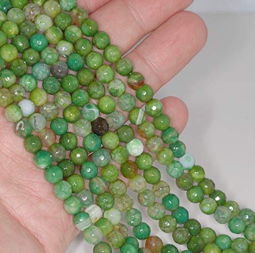 6MM Grass Green Dragon Vein Agate Gemstone Faceted Round Loose Beads 14.5''