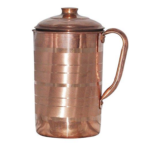 Dutch Jug (Prisha India Craft Best Quality Pure Copper Jug Water Pitcher Handmade Indian Copper Utensils for Ayurveda Healing Capacity 1.8 L)