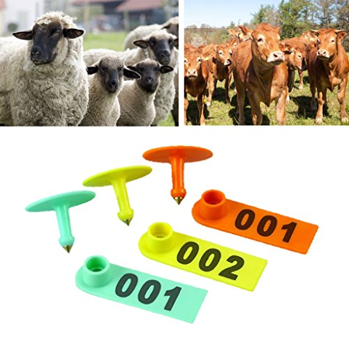 Qupida 1-200 Number Goat/Sheep/Pig/Cattle Plastic Livestock Ear Tag Sign, Farm Animals Identification Cards With Nails (O, 101-200) (Tags Sheep Ear)