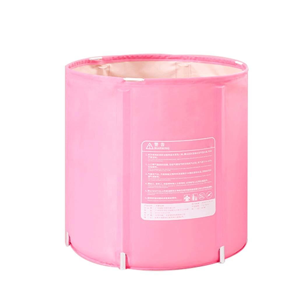 YONGYONG Folding Tub Thick Plastic Bath Barrel Household Bath Barrel Adult Children Do Not Need Inflatable Bathtub 65 * 65cm, 70 * 70cm (Color : Pink, Size : 65 * 65cm)