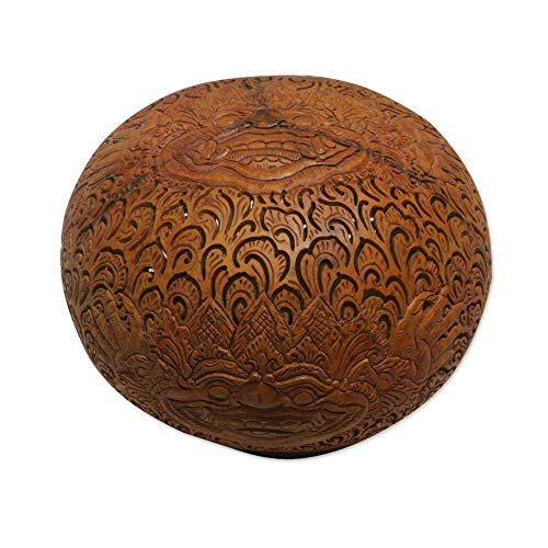 NOVICA Brown Handmade Coconut Shell Sculpture, Bhoma Majesty'