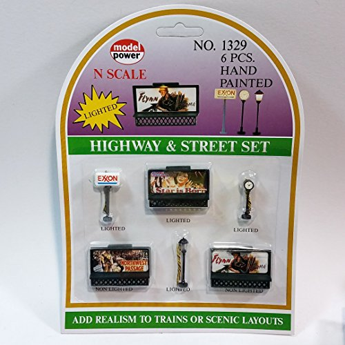 - Model Power #1329 N Scale Lited Highway & Street 6 Handpainted Lighted Structures Exxon,Lamp,Clock & Billboards