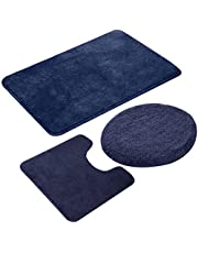 ESUPPORT European Style Bathroom Mats Set 3pcs Non Slip Bath Mat Rug, Solid Color Microfiber U Shaped Contour Rug Carpet, Toilet Lid Cover, Navy Blue