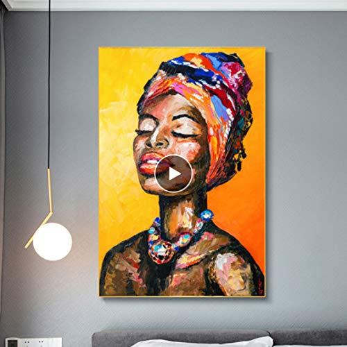 Danjiao Resumen Cuchillo Pintura Al Oleo Retrato Cartel Sexy Mujeres Africanas Lienzo Pintura Pared Para Sala De Estar Decoracion Del Hogar Sala De Estar Decor 60x90cm