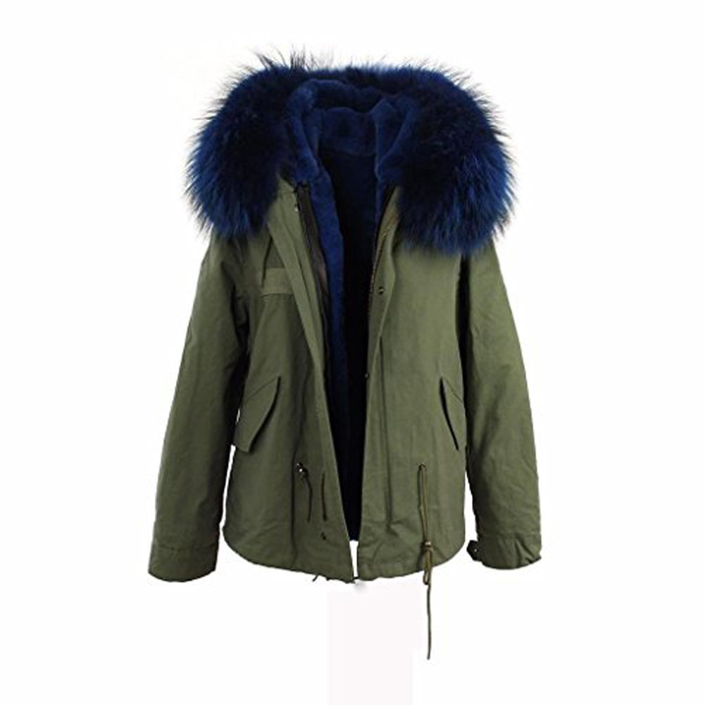 YINUOWEI Women Large Real Raccoon Fur Collar Hooded Parka Jacket Coat Army Green