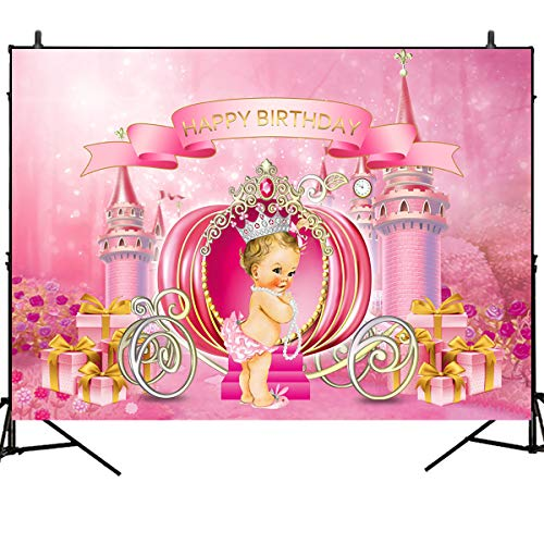 Mehofoto Princess Birthday Backdrop Dream Castle Pumpkin Carriage Photography Background 7x5ft Pink Girl Birthday Party Banner Photoshoot Vinyl Photo Background -