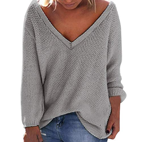 Sunhusing Women's Fall Winter Loose Long Sleeves Deep-V Neck Knitwear Sweater Pullover -