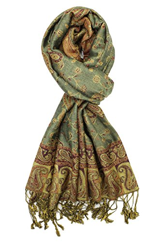 Achillea Soft Silky Reversible Paisley Pashmina Shawl Wrap Scarf w/Fringes 80'' x 28'' (Sage Green) by Achillea (Image #1)