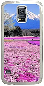 Pink-Flower-Field-And-Mount-Fuji Cases for Samsung Galaxy S5 I9600 with Transparent Skin