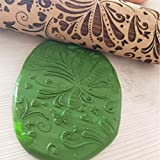 ☀ Dergo ☀Kitchen Wooden Rolling Pin Engraved Carved Embossed Wood Rolling Pin Tool