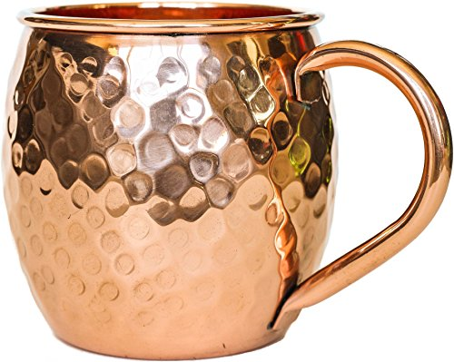 100% Copper Mug for Moscow Mule - 16oz Hammered Barrel - Bonus Recipe Cards!