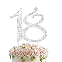 Rhinestone Birthday Anniversary Cake Topper Number Pick 18th Diamante Gems Decoration - 18 by Vincenza
