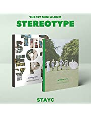 STAYC STEREOTYPE 1st Mini Album RANDOM VER. CD+FOLDED POSTER+84p Photo Book+Holder+Folding Poster(On pack)+Post Card+Photo Card+Stayc Official Fragrance Card+Scratch Card+Special Photo Card