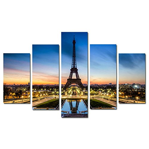 Yspgart 5 Piece On Canvas 4024 Inch Canvas Picture  Paris Eiffel Tower Painting On Canvas  Wall Picture Art Print   Cheaper Than Painting Or Picture  No Posters Or Poster  Yspg103 No Frame
