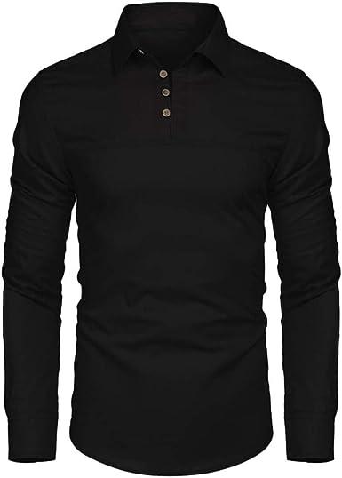 YIHANK - Camisa de Manga Larga para Hombre Negro Medium ...