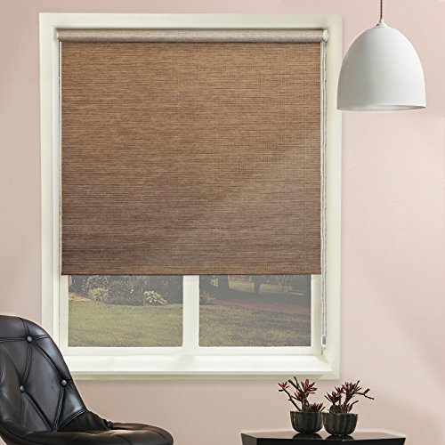 Chicology Continuous Loop Beaded Chain Roller Shades / Window Blind Curtain Drape, Natural Woven, Privacy - Lattice Latte, 36