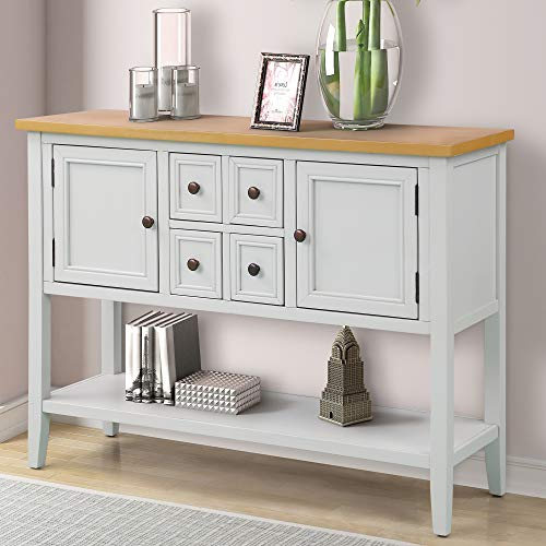 P PURLOVE Sofa Table Buffet Table Console Tables with Four Storage Drawers Two Cabinets and Bottom Shelf (Antique White)