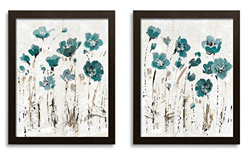 Beautiful Teal and Brown Watercolor-Style Floral Print Set by Lisa Audit; Two 11x14in Brown Framed Prints; Ready to hang! (Teal And Brown Wall Art)