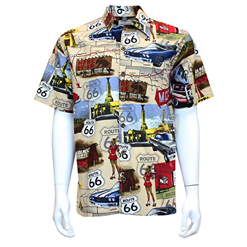(David Carey Chevy Route 66 Camp Shirt - Retro Inspired - Button Up Collared Short Sleeve Tan Club Shirt, M)