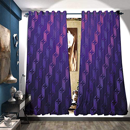 (BlountDecor Room Darkening Wide Curtains Stairs Like Modern Futuristic Minimalist Squares with Cross on Top Patterned Drape for Glass Door W72 x L84 Purple and Magenta Blue)