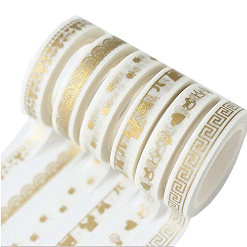 Foil Gold Skinny Washi Tape,Notebook Tape Decorative Craft,DIY Crafts Decorative Washi Tape Scrapbooking Stickers Tape (6 Rolls)