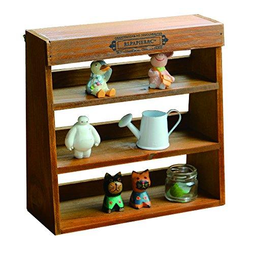 "518IoPAFZGL - YUMU Rustic Wooden Freestanding Wall Mounted Organizer 3 Shelves Rack Home Storage Display Shelving 9.45""x 9.25""x3.54"" JY1029"