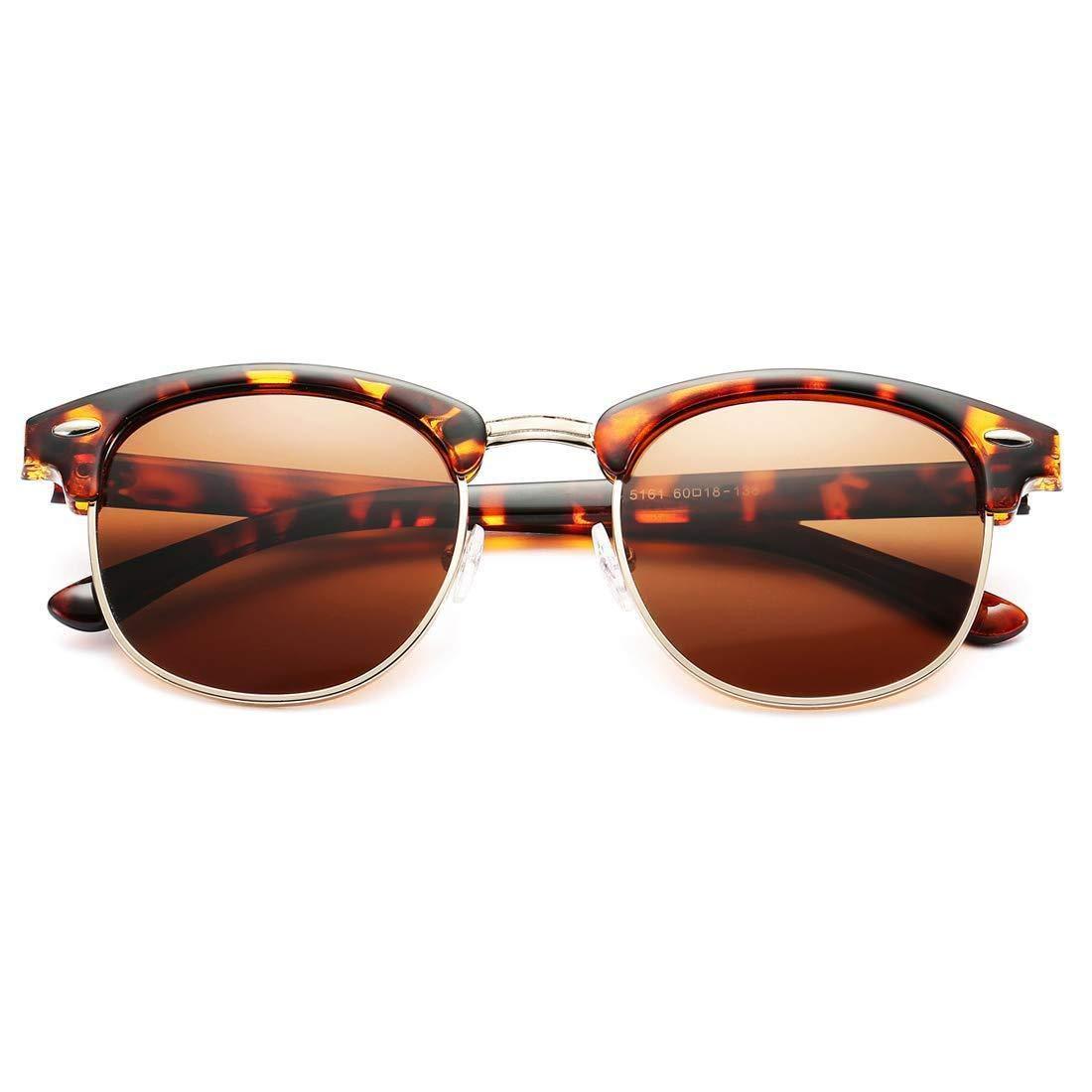 Huojingli Retro Semi Rimless Polarized Clubmasters Sunglasses Classic Men Women Clear Glasses