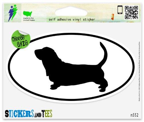 Hound Bumper Sticker (Basset Hound Dog Breed Shape Oval Vinyl Car Bumper Window Sticker 5