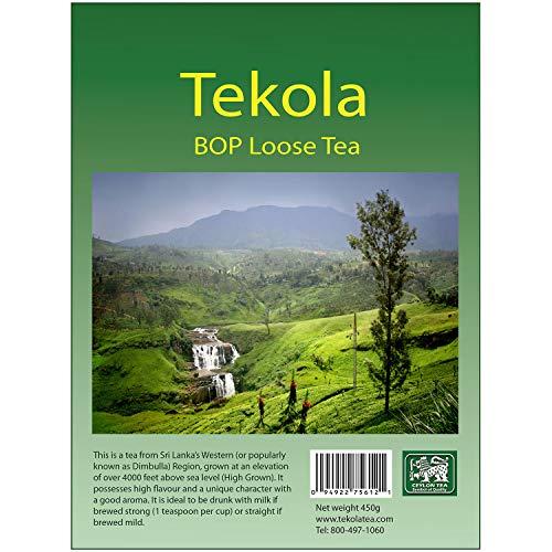 Tekola, Ceylon Black Tea, Loose Leaf BOP Fannings, Broken Orange Pekoe. A premium blend of 100% pure Ceylon Tea. Richly flavorful and full bodied. (1 Lb Pouch)