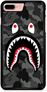 Toysdone Shark Face Case Camo Background Hard Cases Fashion Street Style Soft Silicone TPU Shockproof Bumper Compatible iPhone 7 8 Plus X XS Max 11 11 Pro Max (iPhone 7 8 Plus)
