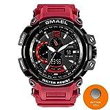 SMAEL NEW Military Watch Waterproof 50M S Shock Resistant Sport Watches Digital Clock Men Military Army Big Men Watch Sport 1702 Series (Red)
