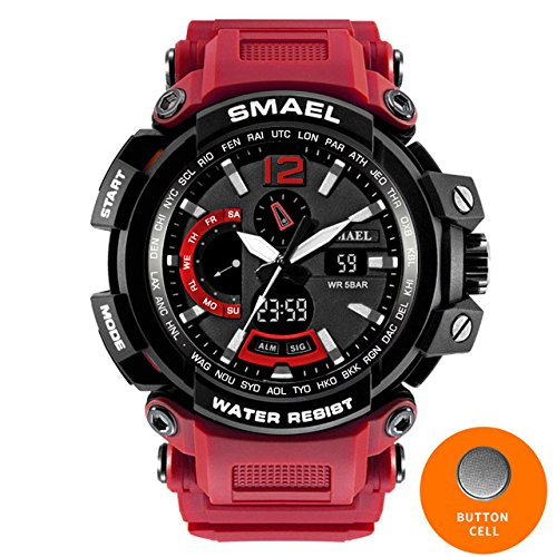 SMAEL NEW Military Watch Waterproof 50M S Shock Resistant Sport Watches Digital Clock Men Military Army Big Men Watch Sport 1702 Series (Red) by SMAEL