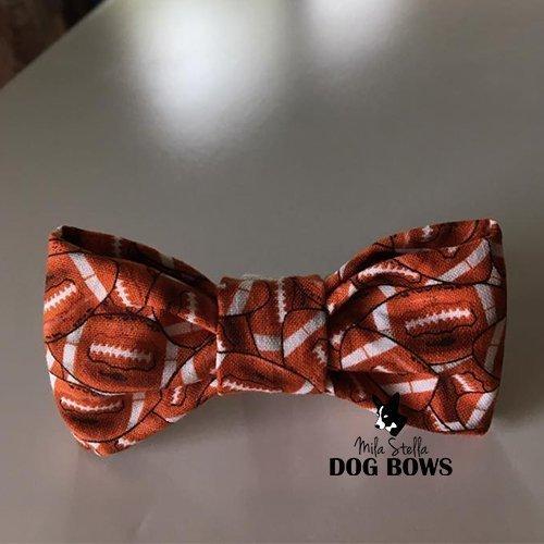 Cotton dog bow Football Dog Bow Tie Handmade in USA Dog Collar Bow Mila Stella Dog Bow