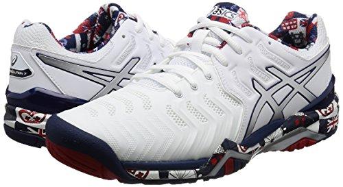 Asics–Zapatillas de tenis de gel Resolution 7L.E. London Hombre (Blanco/Gris) blanco