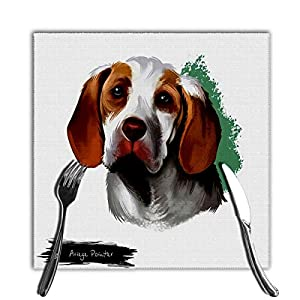 Randell Placemats Set of 4 Ariege Pointer Dog Digital Art White Braque De Pointing Stain Resistant Table Mats 1212 in 1