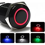 12V Aluminum Metal Push Button Switch Latching red Led 18mm