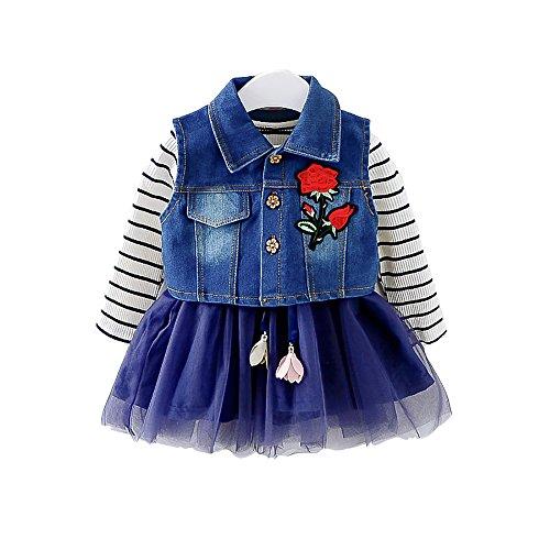 Moonnut Little Girls Dress and Denim Vest Set, Long-Sleeved Tutu Lace Chiffon Skirt Dress (12-18months, Navy) by Moonnut