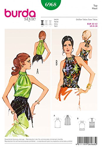 Amazon.com: Burda Ladies Easy Sewing Pattern 6968 Vintage Style ...