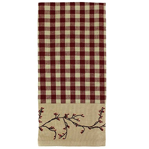 - Primitive Home Decors Berry Vine Check Barn Red Kitchen Towel