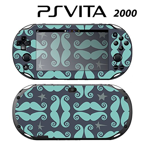 Skin Decal Cover Sticker for Sony PlayStation PS Vita Slim (PCH-2000) - Mustache Moustache -  Decals Plus, PV2-PA21